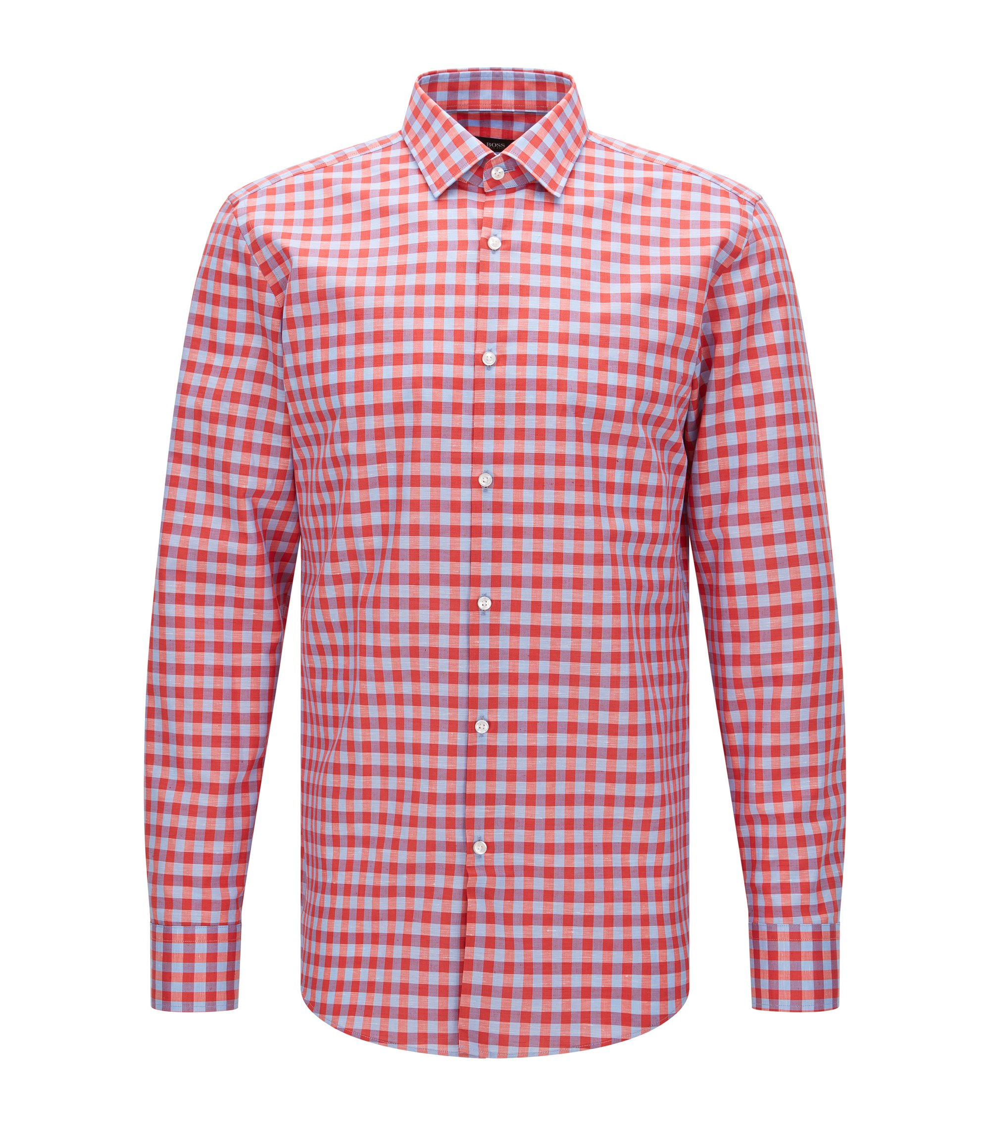 Gingham Italian Cotton Linen Dress Shirt, Slim Fit | Jenno, Red