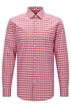 Gingham Italian Cotton Linen Dress Shirt, Slim Fit | Jenno  , Red