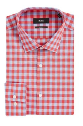 Gingham Italian Cotton-Linen Dress Shirt, Slim Fit | Jenno  , Red
