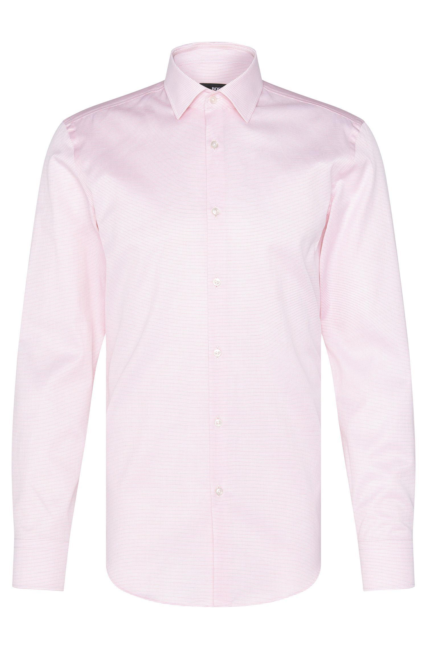 Fine Striped Cotton Dress Shirt, Slim Fit | Jenno