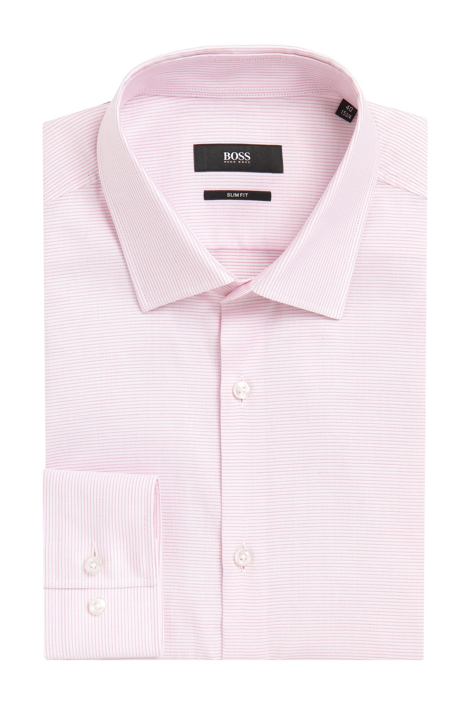 Fine Striped Cotton Dress Shirt, Slim Fit   Jenno