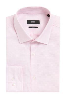 Fine Striped Cotton Dress Shirt, Slim Fit | Jenno, Red