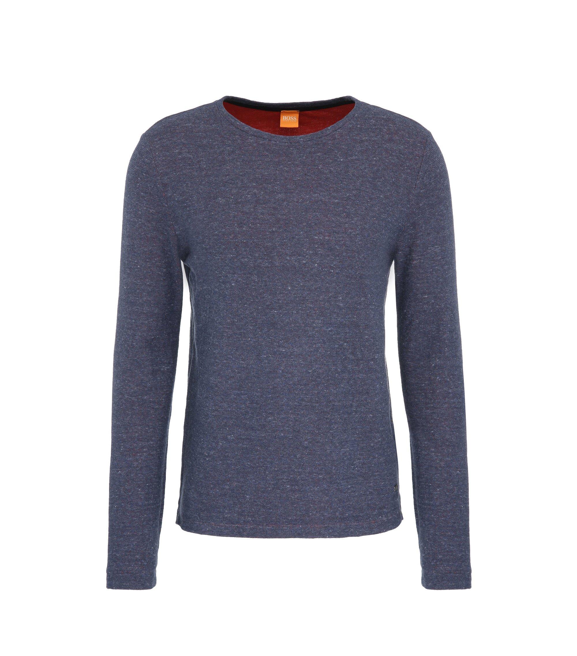 Cotton Melange Long Sleeve Shirt | Wanna, Dark Blue