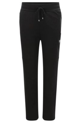 'Long Pant' | Tracksuit Bottoms in Cotton Blend with Contrasting Color Zips , Black