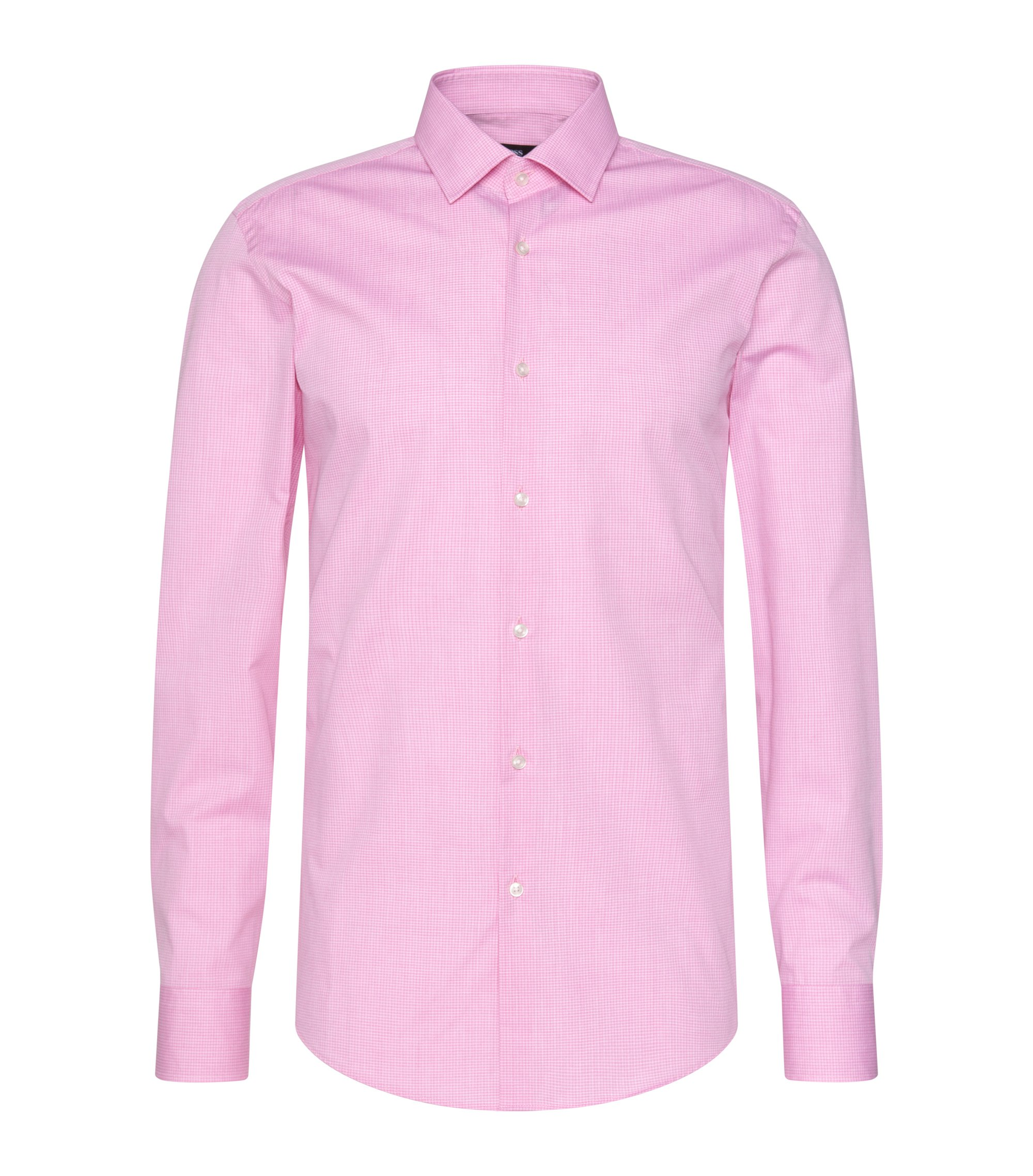 Tattersall Stretch Cotton Dress Shirt, Slim Fit | Jenno  , light pink