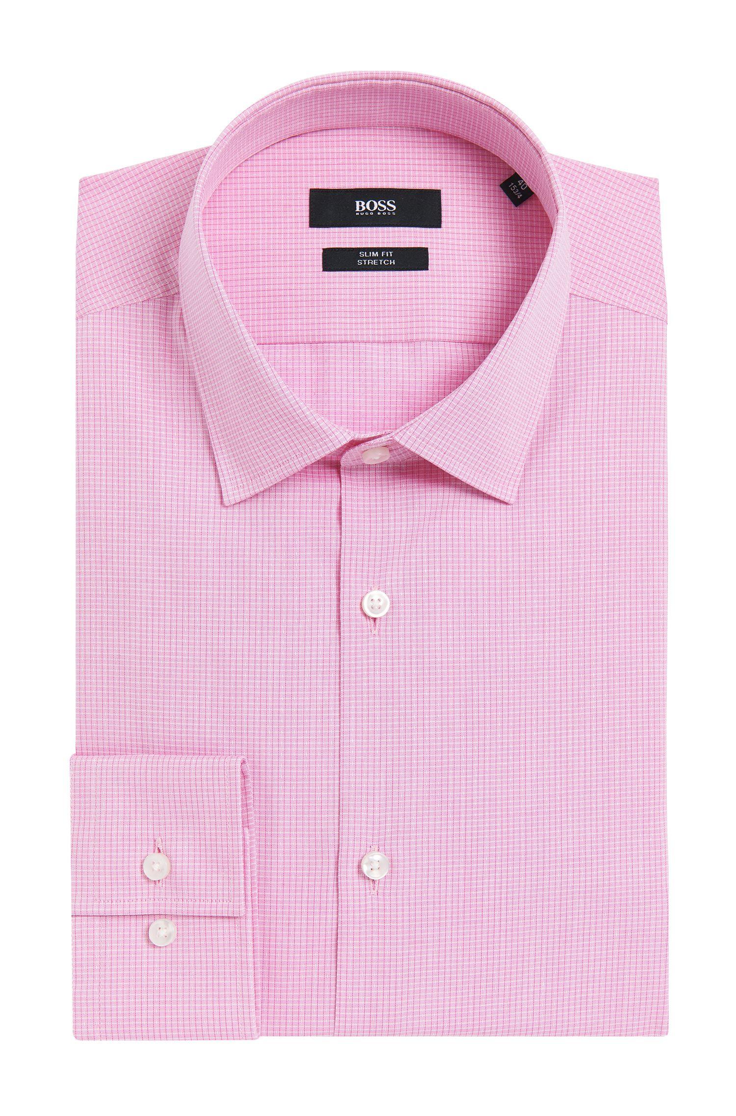 Tattersall Stretch Cotton Dress Shirt, Slim Fit | Jenno