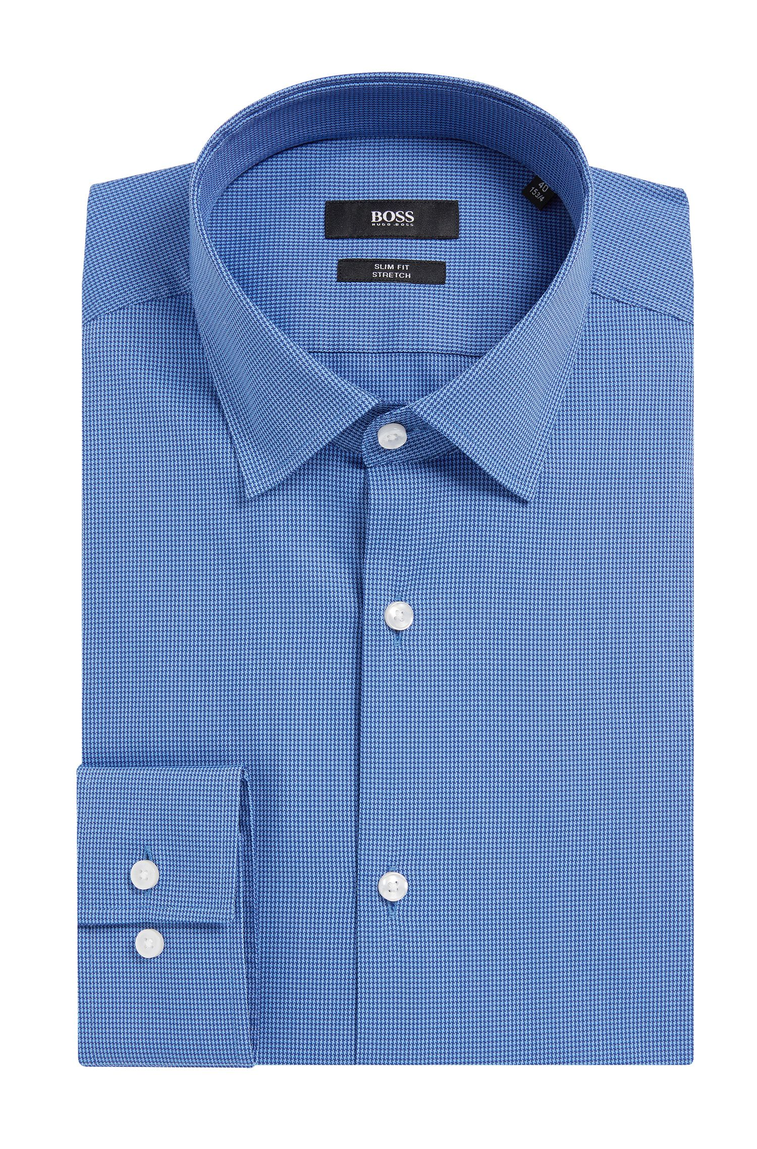 Houndstooth Stretch Cotton Dress Shirt, Slim Fit | Jenno  , Blue