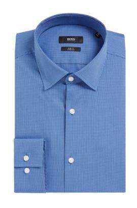 Houndstooth Stretch Cotton Dress Shirt, Slim Fit | Jenno, Blue