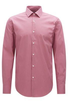 Houndstooth Stretch Cotton Dress Shirt, Slim Fit | Jenno, Pink
