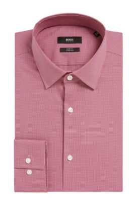 Houndstooth Stretch Cotton Dress Shirt, Slim Fit | Jenno  , Pink