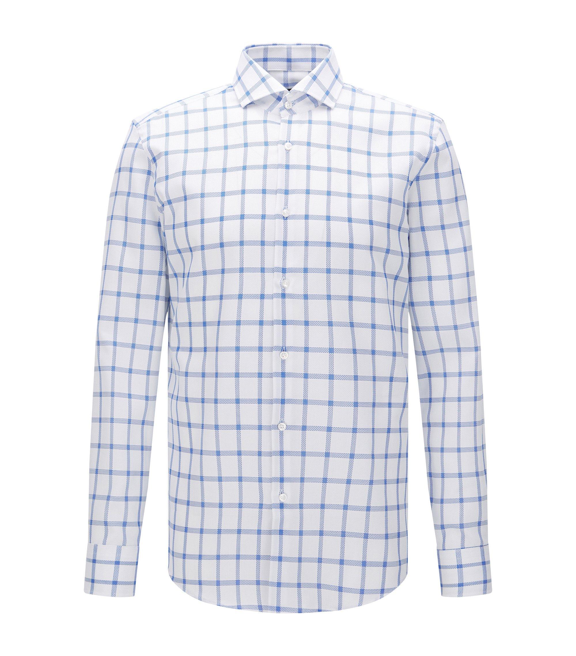 Windowpane Cotton Dress Shirt, Slim Fit   Jason, Blue