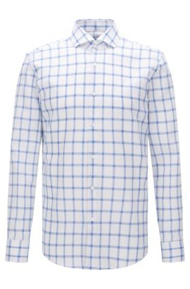 Windowpane Cotton Dress Shirt, Slim Fit | Jason , Blue
