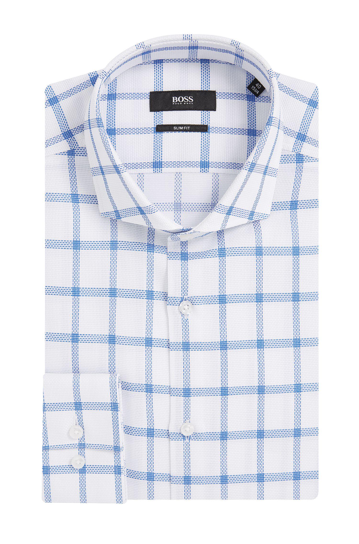 Windowpane Cotton Dress Shirt, Slim Fit   Jason