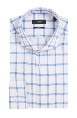 Windowpane Cotton Dress Shirt, Slim Fit | Jason, Blue
