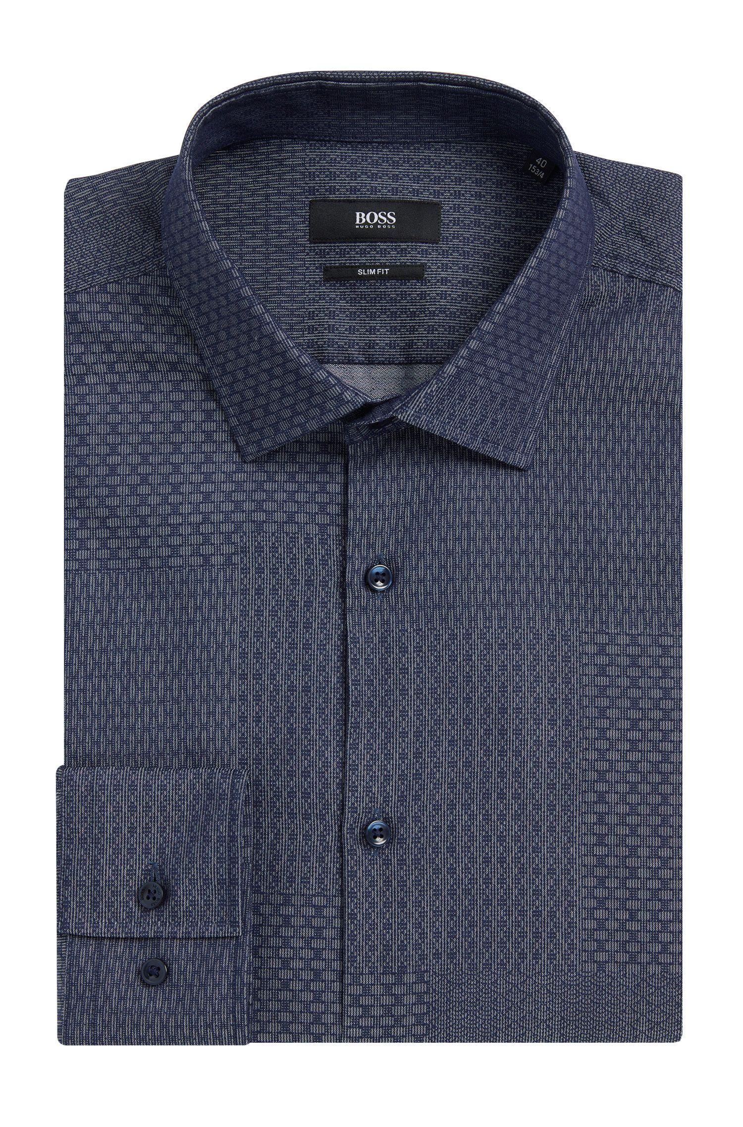 Dobby Patchwork Cotton Dress Shirt, Slim Fit   Jenno