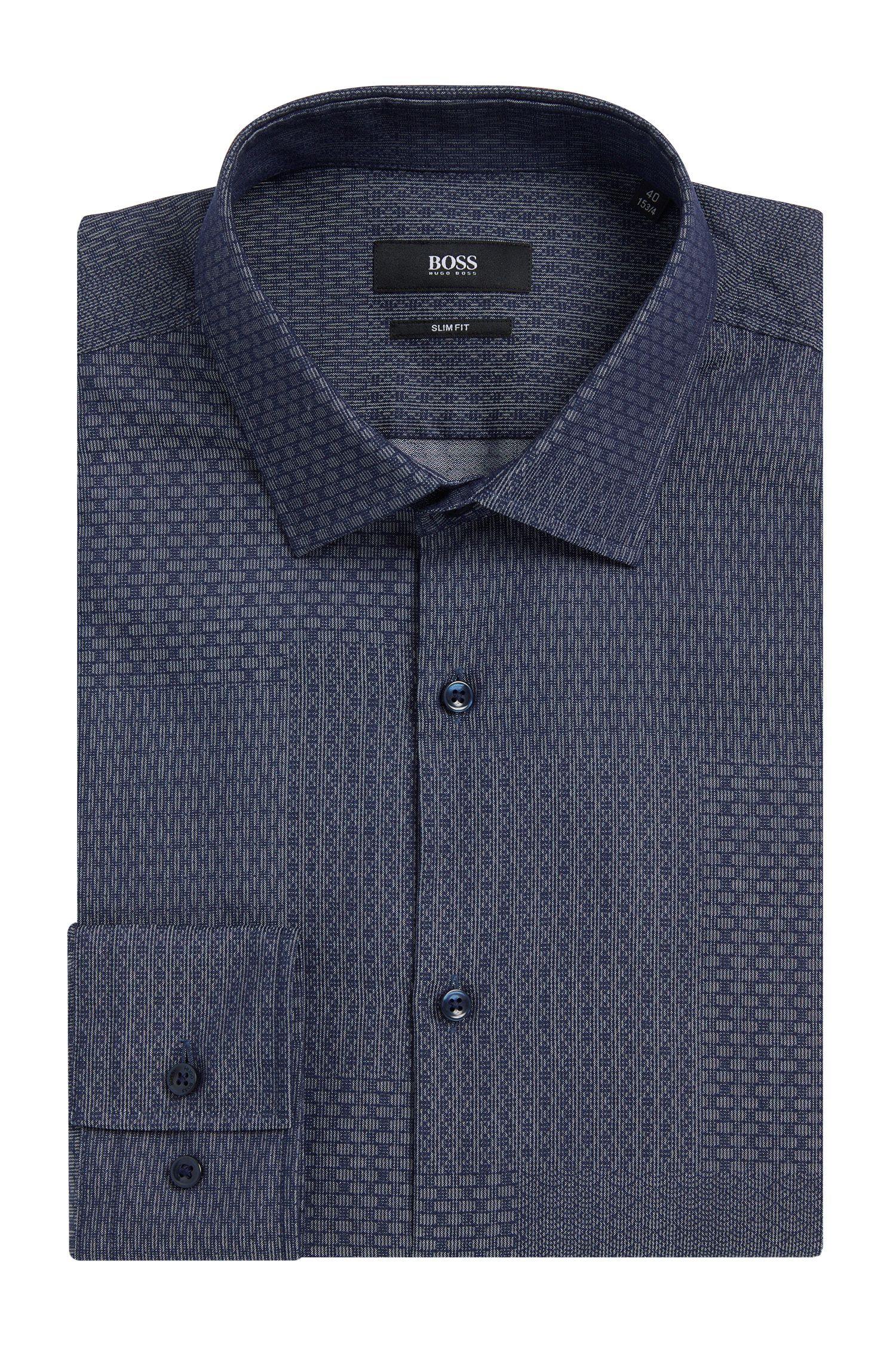 Dobby Patchwork Cotton Dress Shirt, Slim Fit | Jenno