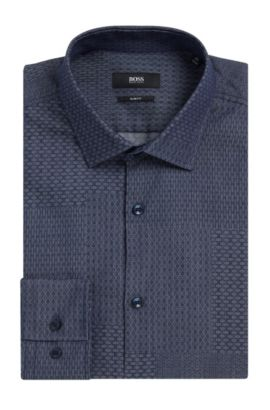 Dobby Patchwork Cotton Dress Shirt, Slim Fit | Jenno  , Dark Blue