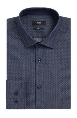 Dobby Patchwork Cotton Dress Shirt, Slim Fit | Jenno, Dark Blue