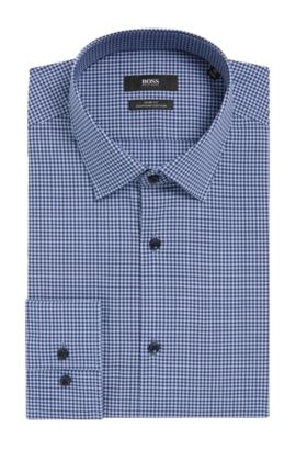 Mini Gingham Egyptian Cotton Dress Shirt, Slim Fit | Jenno  , Blue