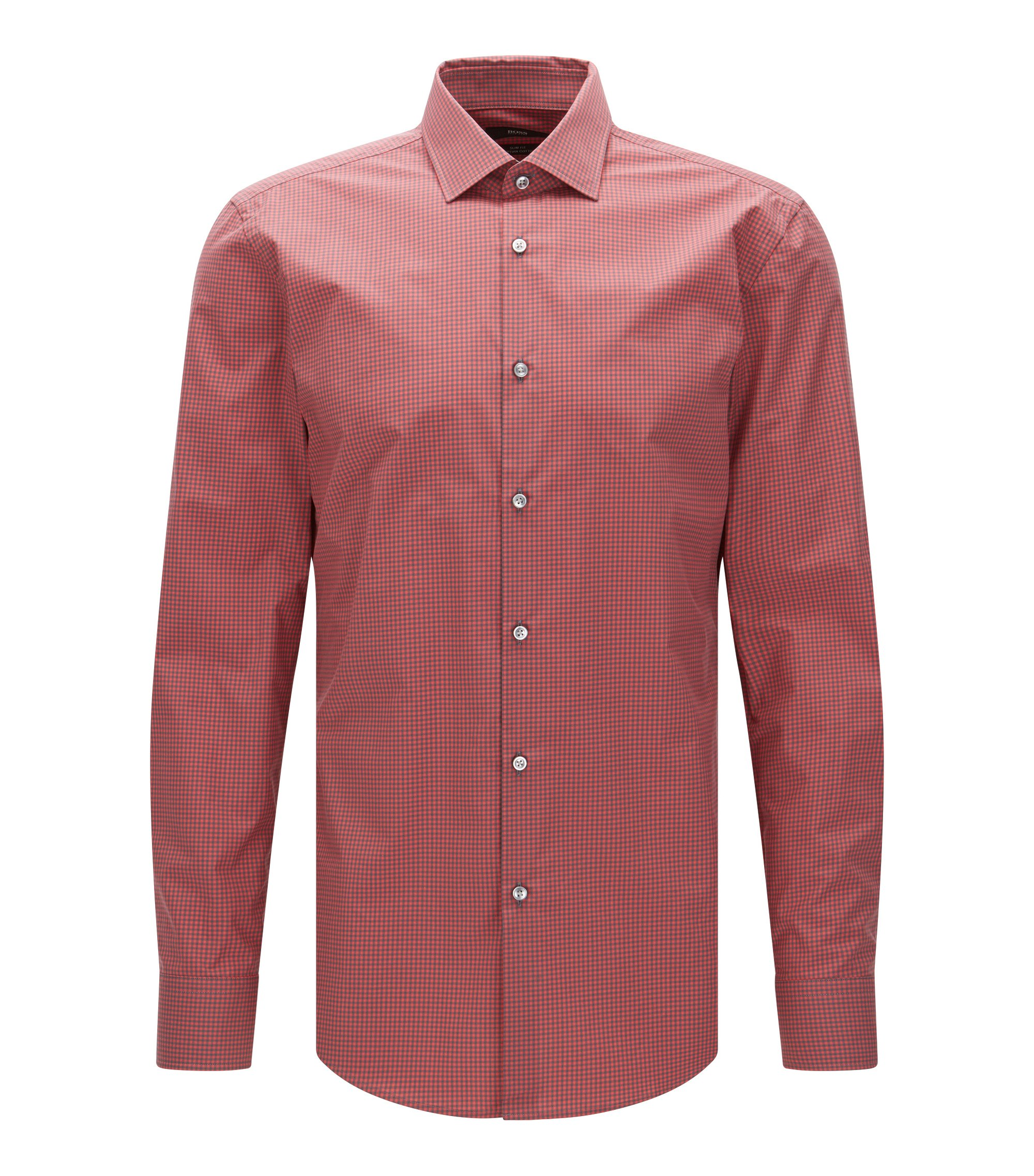 Gingham Egyptian Cotton Dress Shirt, Slim Fit | Jenno, Red