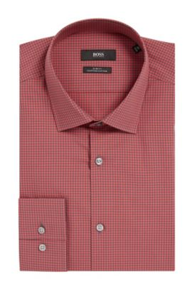 Mini Gingham Egyptian Cotton Dress Shirt, Slim Fit | Jenno  , Red