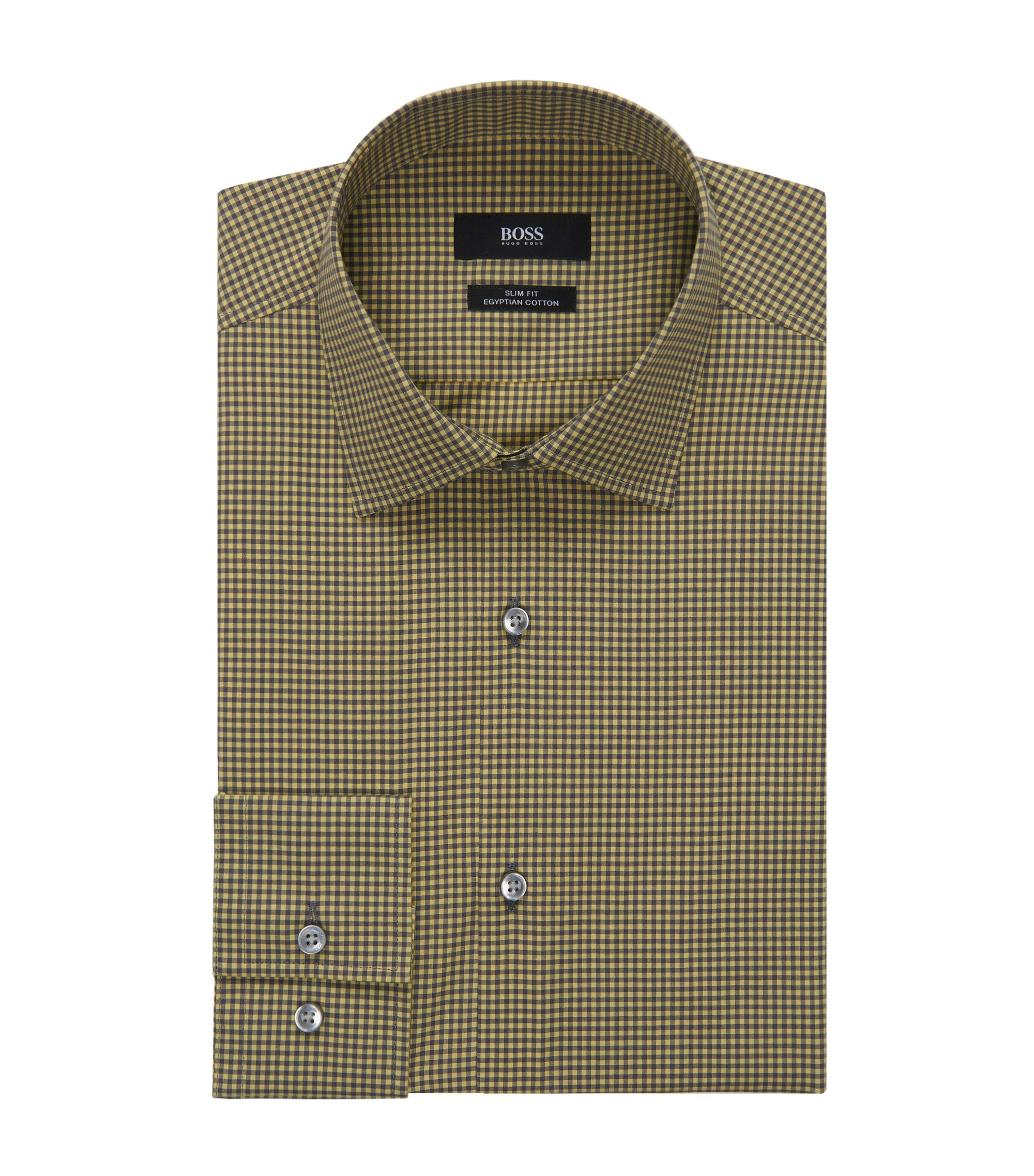 Gingham Egyptian Cotton Dress Shirt, Slim Fit | Jenno  , Yellow