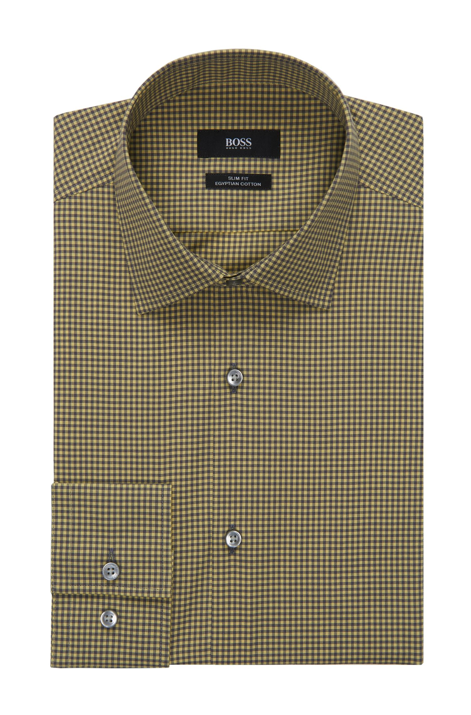 Gingham Egyptian Cotton Dress Shirt, Slim Fit | Jenno