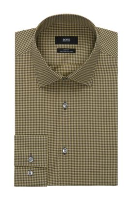 Mini Gingham Egyptian Cotton Dress Shirt, Slim Fit | Jenno  , Yellow