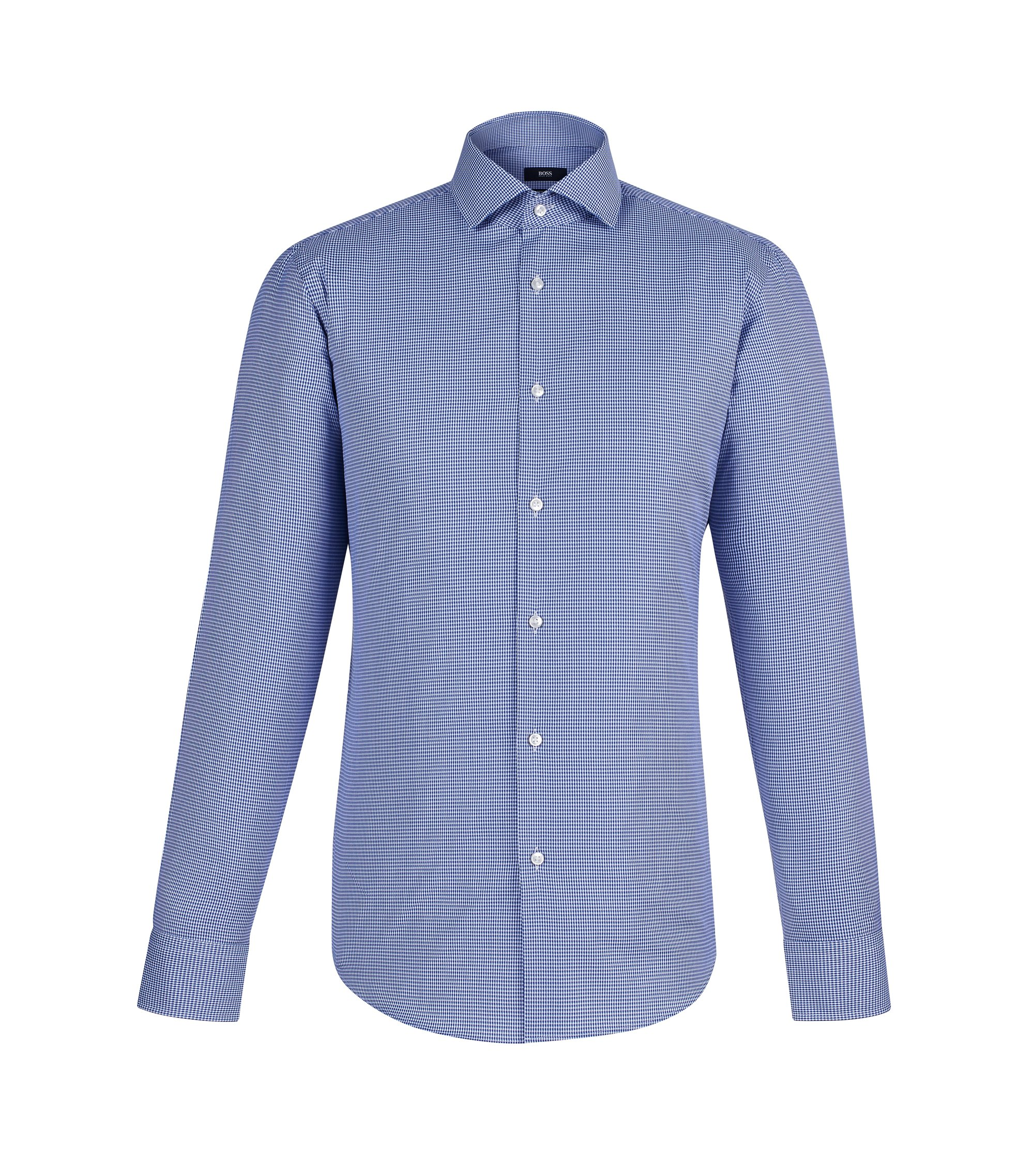 Micro-check Egyptian Cotton Dress Shirt, Regular Fit | Gordon, Blue