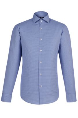 Micro-check Egyptian Cotton Dress Shirt, Regular Fit | Gordon  , Blue