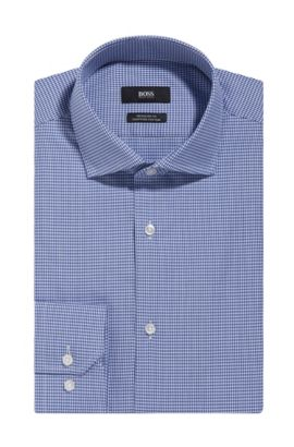 Micro-check Egyptian Cotton Dress Shirt, Regular Fit   Gordon, Blue