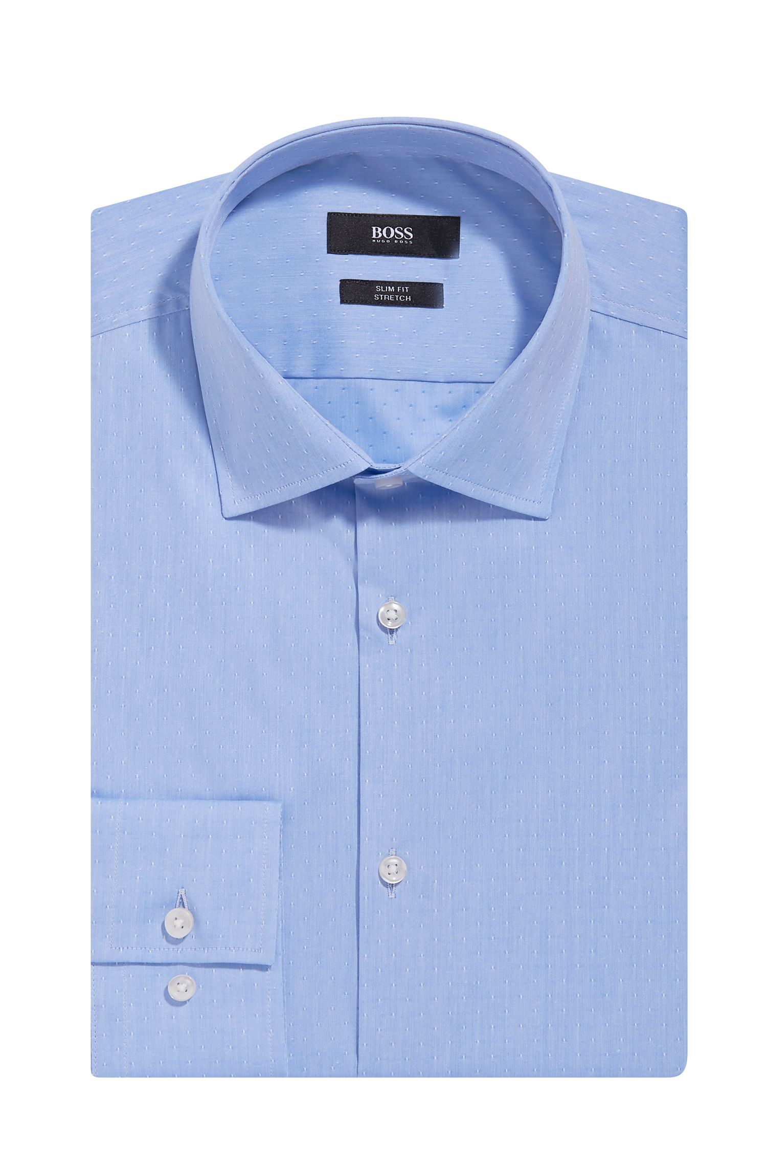 Embroidered Italian Stretch Cotton Dress Shirt, Slim Fit | Jenno