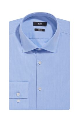 Embroidered Italian Stretch Cotton Dress Shirt, Slim Fit | Jenno, Light Blue