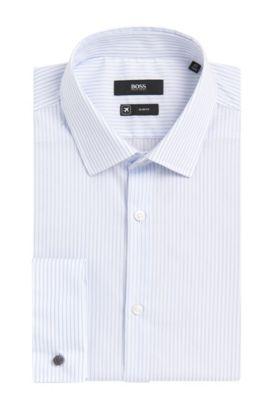 Striped Cotton Dress Shirt, Slim Fit | Jacques, Light Blue