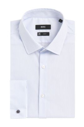 Striped Cotton Dress Shirt, Slim Fit | Jacques  , Light Blue