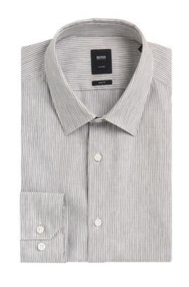 Italian Linen-Cotton Dress Shirt, Slim Fit | T-Clint, Dark Green
