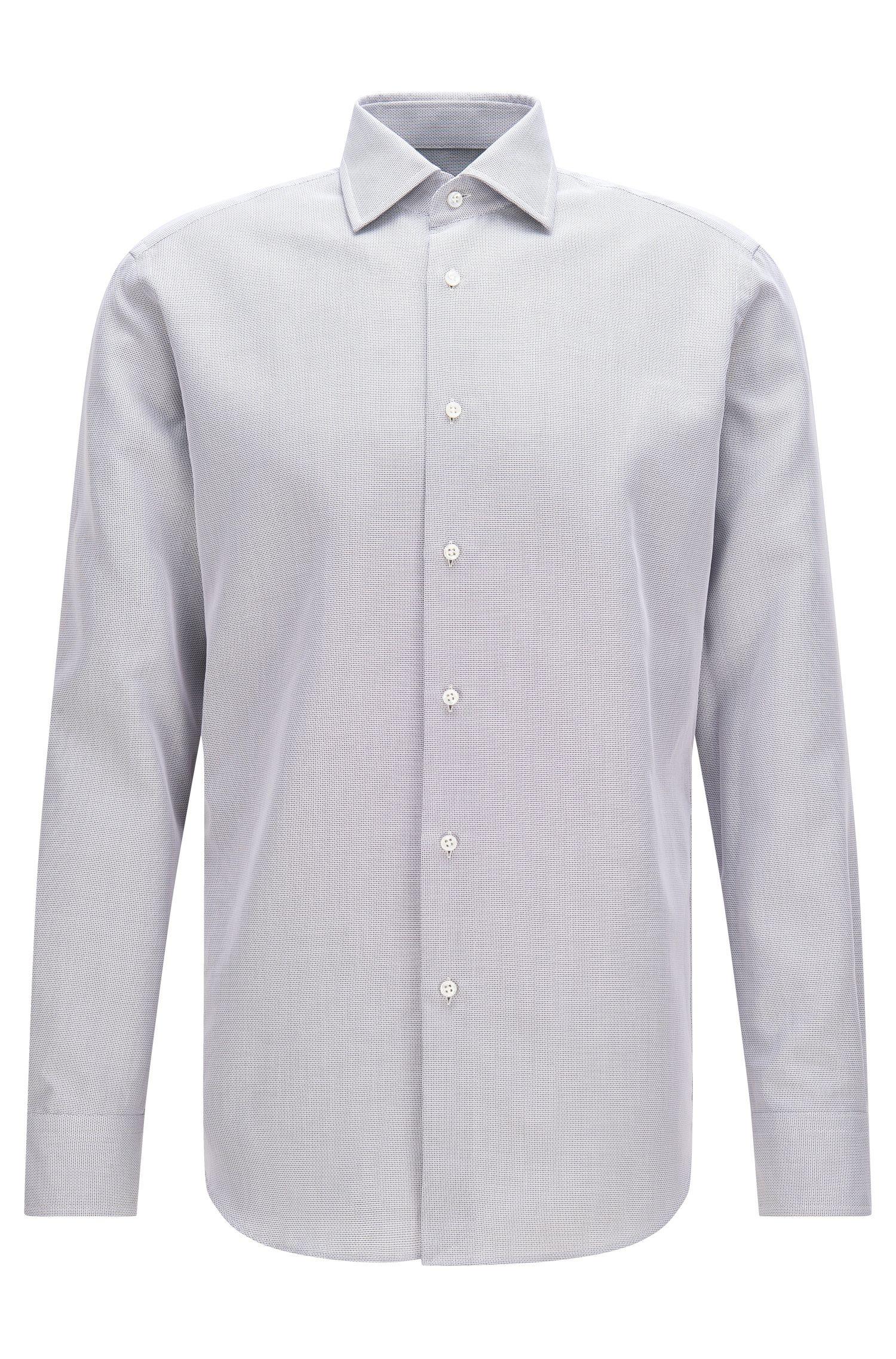 End-on-End Cotton Dress Shirt, Regular Fit | T-Stuart, Dark Grey