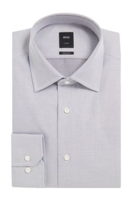 End-on-End Cotton Dress Shirt, Regular Fit | T-Stuart, Dark Grey