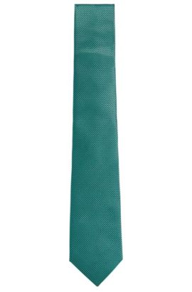 BOSS Tailored Birdseye Italian Silk Tie, Open Green
