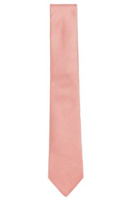 BOSS Tailored Birdseye Italian Silk Tie, Open Red