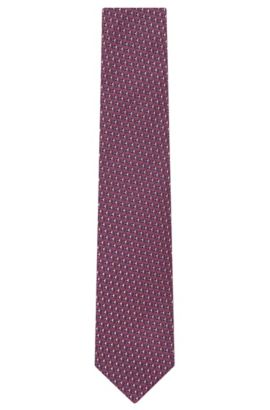 'T-Tie 7.5 cm' | Regular, Italian Silk Patterned Tie, Pink