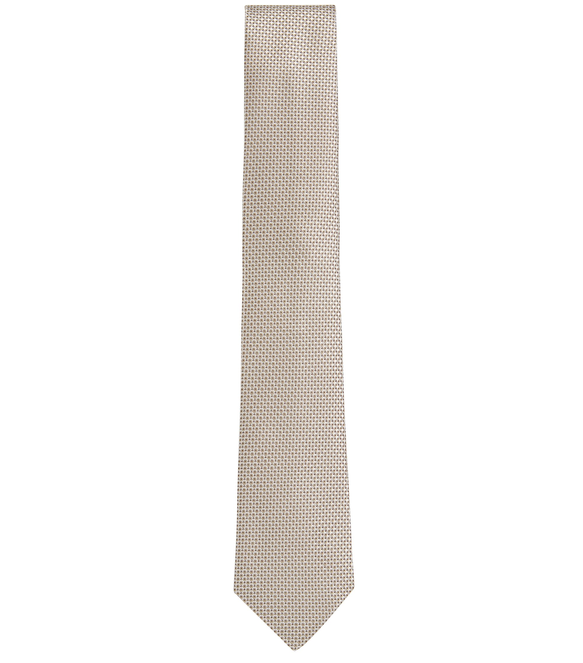 BOSS Tailored Italian Silk Jacquard Tie, Natural