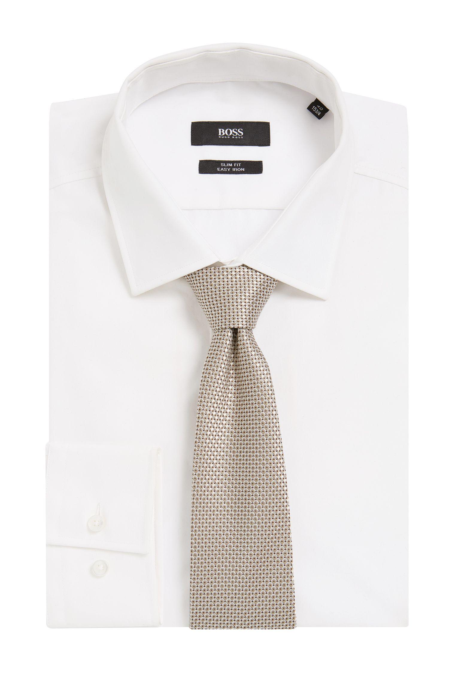 BOSS Tailored Italian Silk Jacquard Tie, Natural
