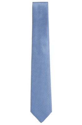 BOSS Tailored Italian Silk Jacquard Tie, Blue