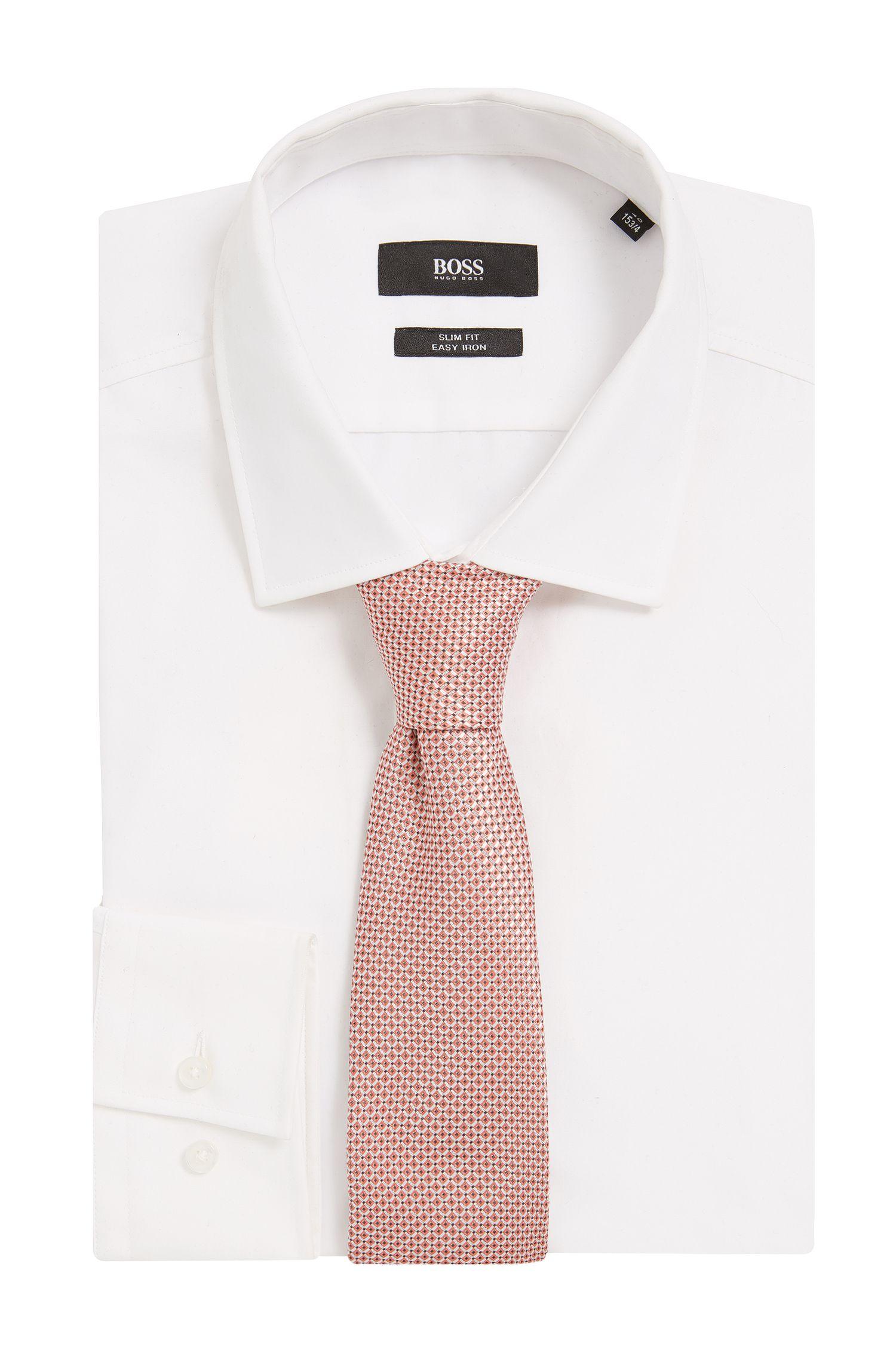BOSS Tailored Italian Silk Jacquard Tie, Open Red