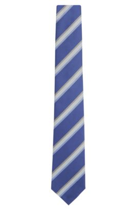 Striped Silk Tie | T-Tie 7.5 cm, Blue
