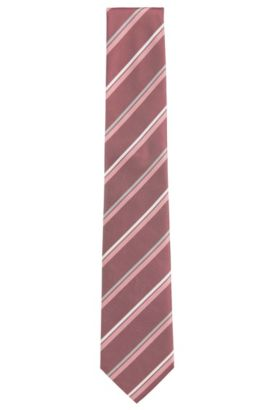 Striped Silk Tie | T-Tie 7.5 cm, Pink