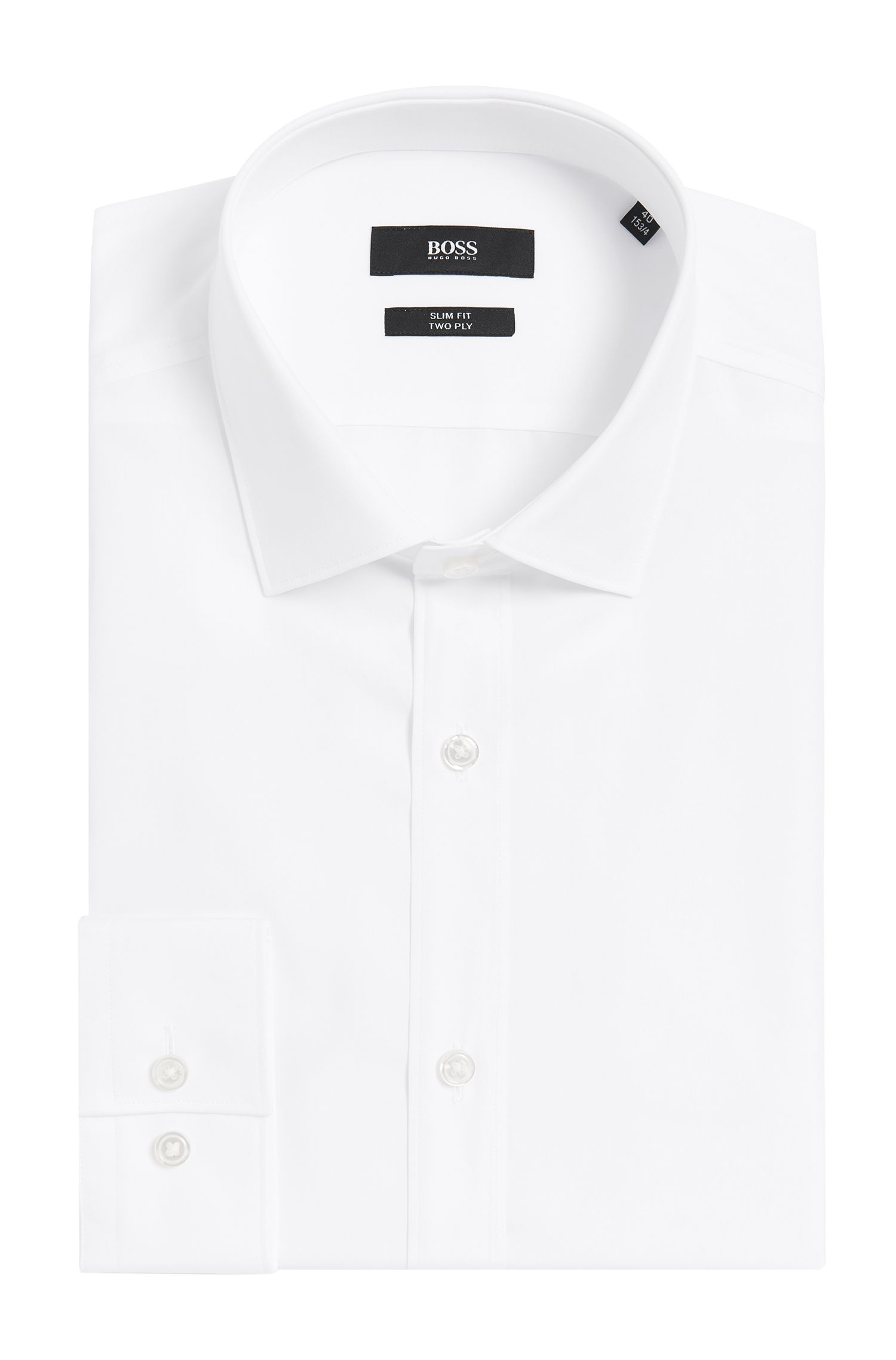 2-Ply Italian Cotton Dress Shirt, Slim Fit | Isaak