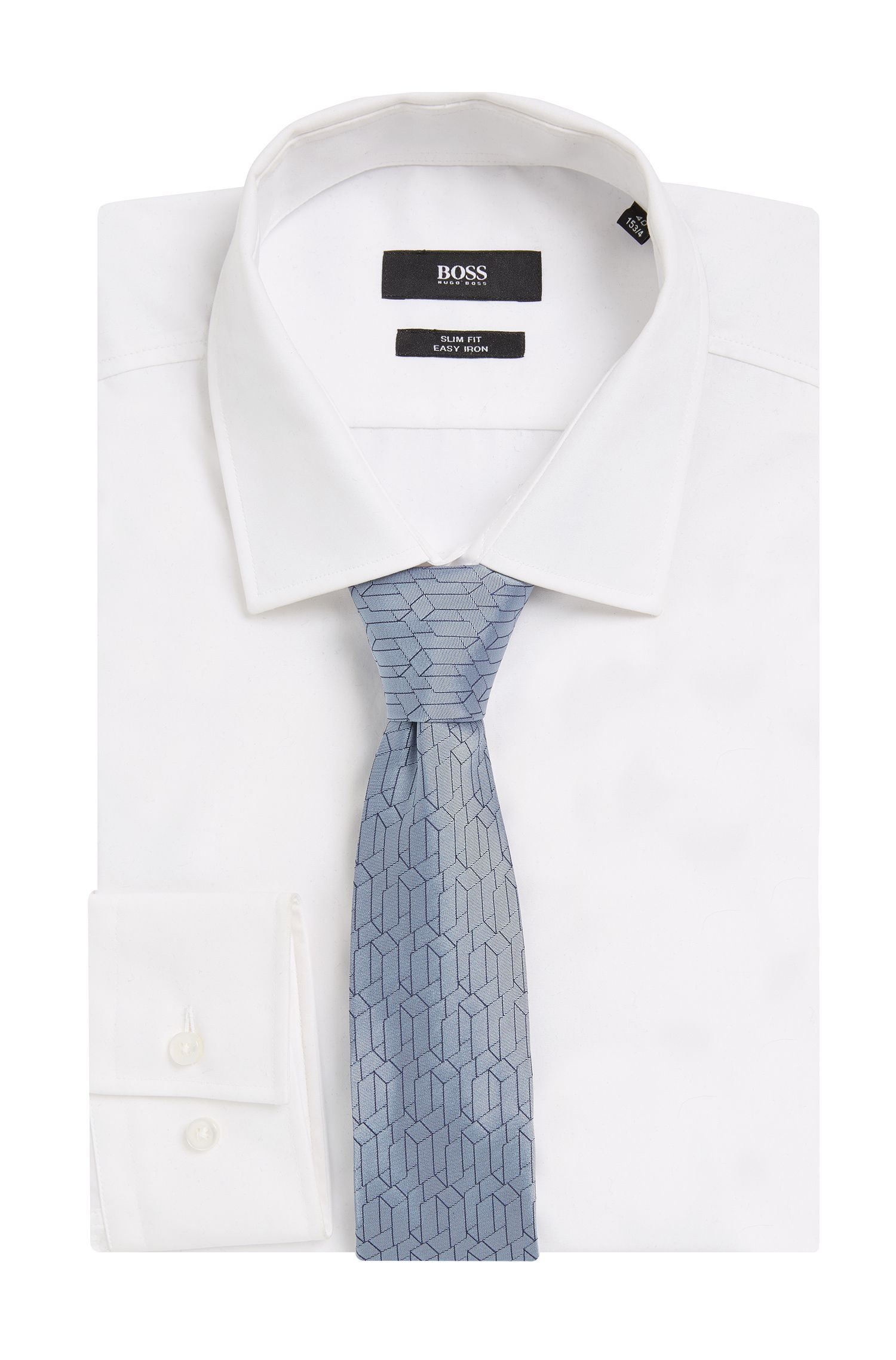 BOSS Tailored Italian Silk Slim Tie, Light Blue