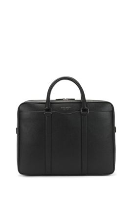 'Signature S Doc' | Italian Calfskin Workbag, Detachable Shoulder Strap, Black